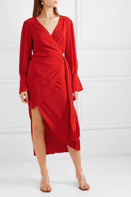 + NET SUSTAIN Velda fringed Lyocell wrap dress
