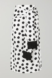 + NET SUSTAIN Kate fringed tie-front polka-dot Lyocell midi skirt