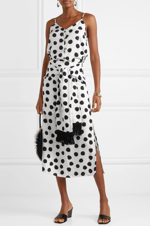 Mother of Pearl + NET SUSTAIN Kate fringed tie-front polka-dot Lyocell midi skirt