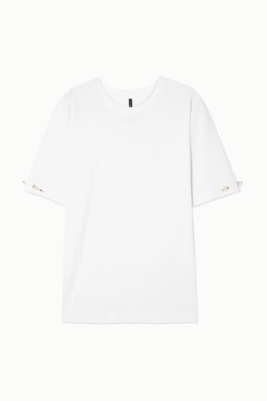 Mother of Pearl. Oversized faux pearl-embellished organic cotton-jersey  T-shirt