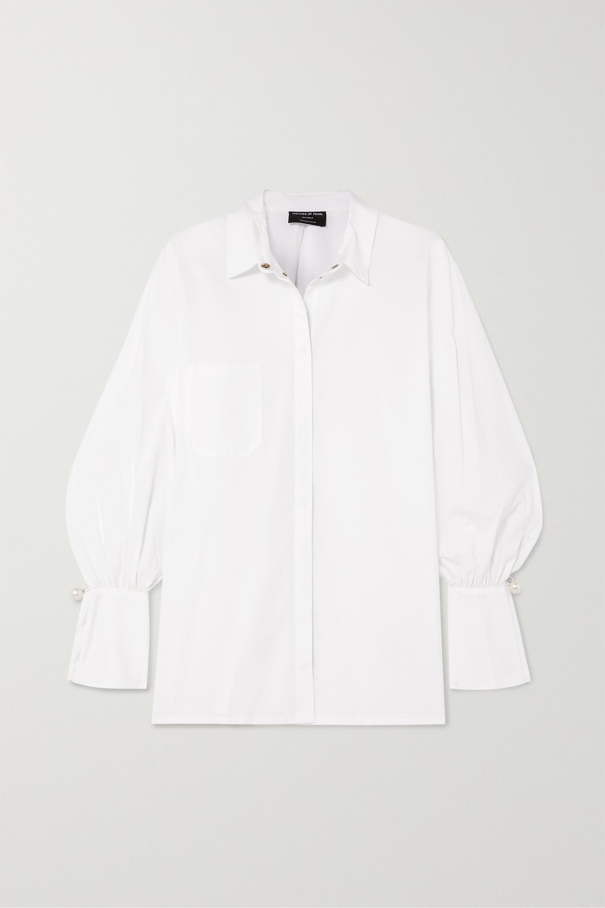 Mother of Pearl + NET SUSTAIN Miles faux pearl-embellished organic cotton shirt