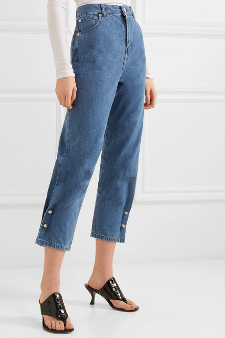 Kyra faux pearl-embellished high-rise tapered jeans