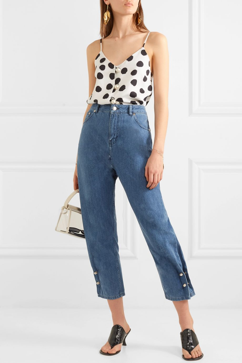 Mother of Pearl + NET SUSTAIN Kyra faux pearl-embellished high-rise tapered jeans