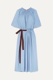 Belted shirred jersey dress