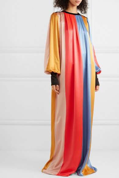 Roksanda Dresses Striped pleated silk-satin maxi dress