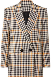 Jina checked linen blazer