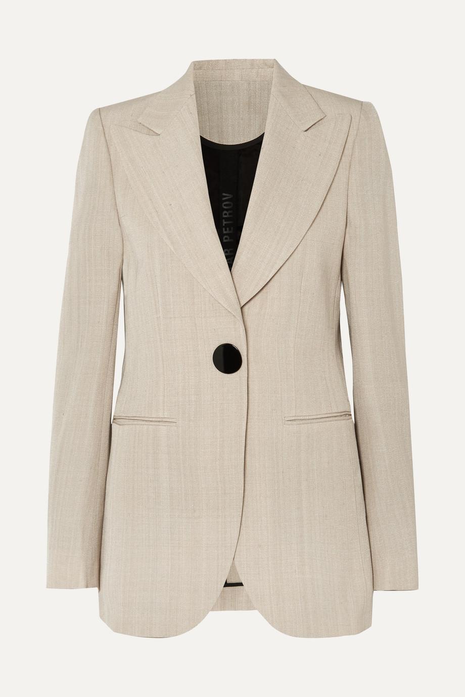 Exact Product: Julian woven blazer, Brand: Petar Petrov, Available on: net-a-porter.com, Price: $1325
