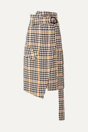 Ryan belted checked linen wrap skirt