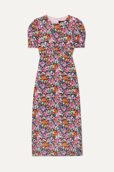 Saloni Dresses Bianca floral-print silk crepe de chine midi dress