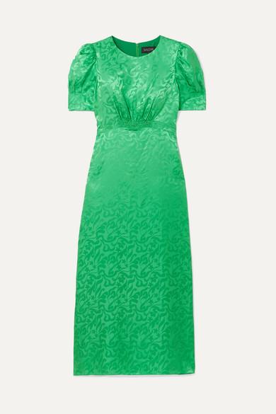 Saloni Dresses Bianca silk-satin jacquard midi dress
