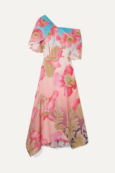 Asymmetric Printed Cotton Poplin Midi Dress by Peter Pilotto