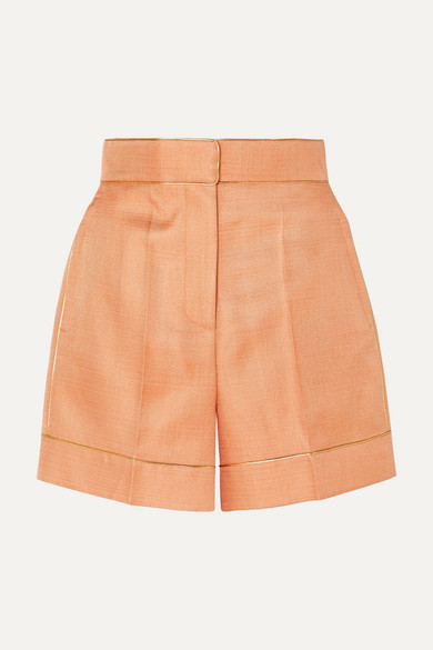 Peter Pilotto Shorts Metallic-trimmed twill shorts