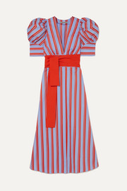 Jardin belted striped cotton-poplin midi dress