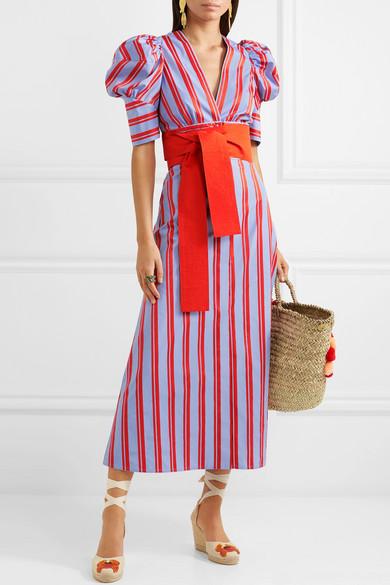 Silvia Tcherassi   Jardin belted striped cotton poplin midi