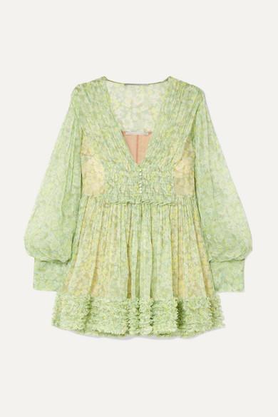eb609488c8ef Stella McCartney | Ruffled floral-print silk-crepon mini dress | NET ...