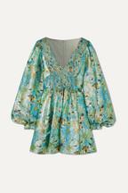 Stella McCartney Smocked floral-print Lurex mini dress f8b2cc54d805f
