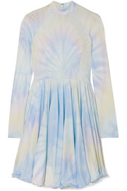 Tie-dyed pleated satin-crepe mini dress