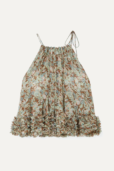 Stella Mccartney Tops Ruffled floral-print silk-georgette halterneck top