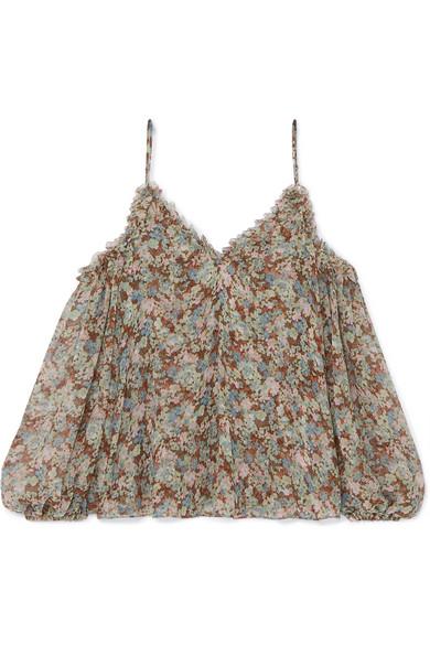 STELLA MCCARTNEY | Stella McCartney - Cold-shoulder Ruffled Floral-print Silk-chiffon Blouse - Green | Goxip