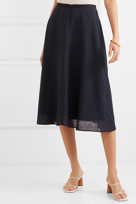 Grosgrain-trimmed voile skirt
