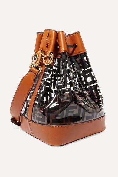 Fendi Shoulder Mon Trésor medium printed PVC and leather bucket bag