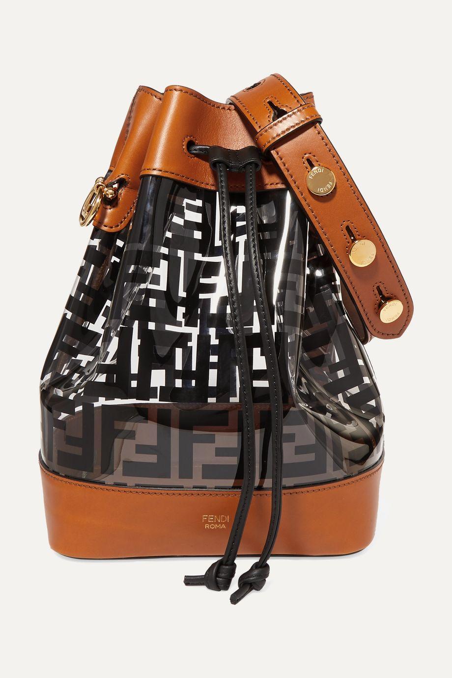 Fendi Mon Trésor medium printed PVC and leather bucket bag