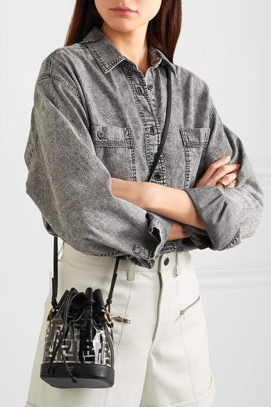 Fendi Shoulder Mon Trésor mini printed PVC and leather bucket bag