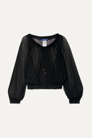 Elena Makri Tegea gathered silk-tulle top