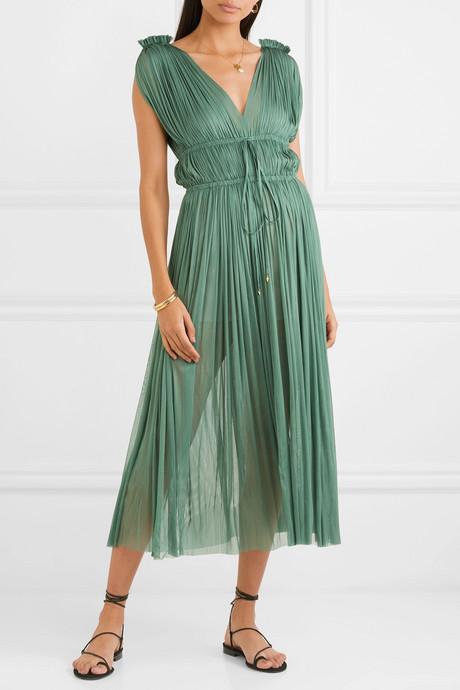 Vereniki pleated silk-tulle midi dress