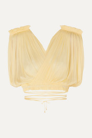 Elena Makri Antigone cropped pleated silk-tulle wrap top