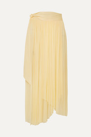 Elena Makri Delfis asymmetric pleated silk-tulle midi skirt
