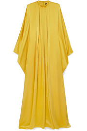 Pleated silk-satin gown