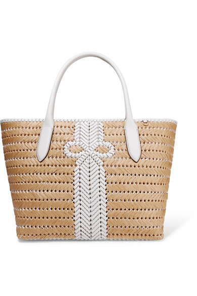 Anya Hindmarch Leathers Nesson woven leather and straw tote