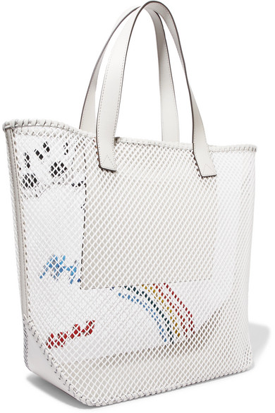 Anya Hindmarch Totes Leather-trimmed embroidered mesh tote