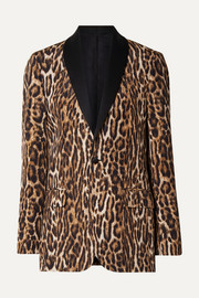 R13 Oversized satin-trimmed leopard-print cotton-blend crepe blazer
