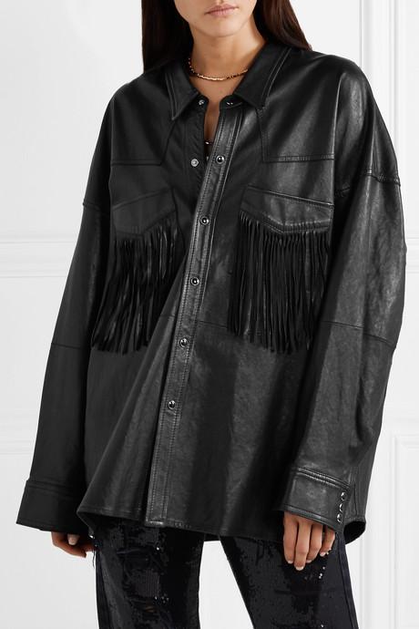 Oversized fringed leather jacket
