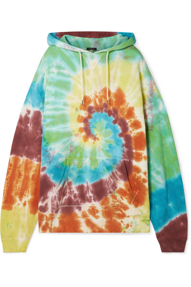 R13 Tops Oversized tie-dyed cotton-blend jersey hoodie