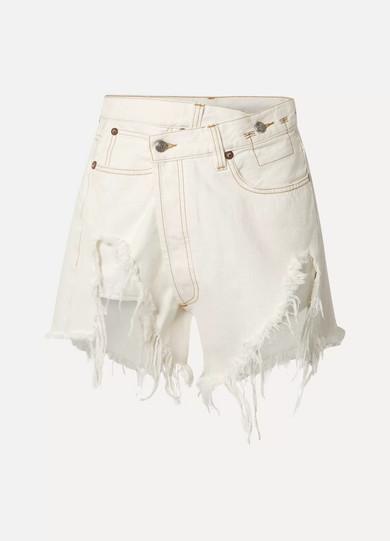 R13 Shorts Distressed denim wrap shorts