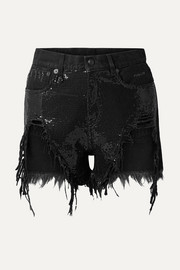 R13 Distressed sequin-embellished denim shorts