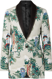 Studded silk-trimmed printed cotton blazer