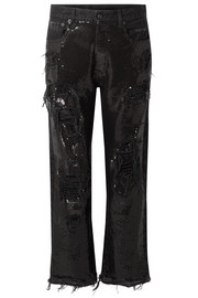 R13 Distressed sequin-embellished mid-rise jeans