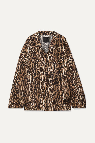 R13 T-shirts Oversized leopard-print voile shirt