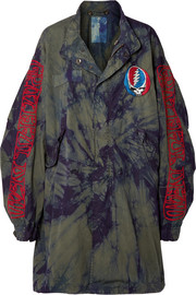 R13 Grateful Dead oversized embroidered tie-dyed cotton-twill coat