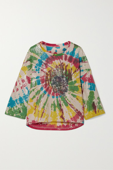 R13 T-shirts Sequin-embellished tie-dyed cotton-jersey T-shirt