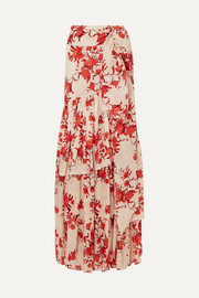 Tiered floral-print cotton-georgette maxi skirt