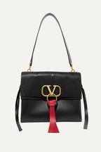 14b6b3c6100 Valentino Valentino Garavani Vee Ring medium lizard and leather shoulder bag
