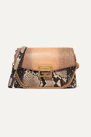 Givenchy GV3 small leather-trimmed python, elaphe and lizard shoulder bag