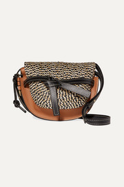 Loewe Gate small woven raffia and leather shoulder bag