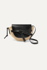 Loewe Gate mini leather and raffia shoulder bag