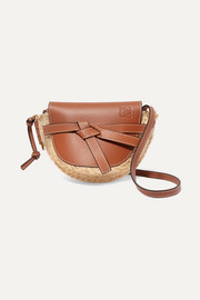 Loewe Gate mini leather and woven raffia shoulder bag